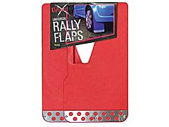 RED PAIR OF RALLY STYLE MUDFLAPS WITH CHROME PLATE