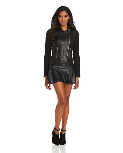 French Connection Women's Mixed Media Leather Moto Jacket with Lurex Sleeves