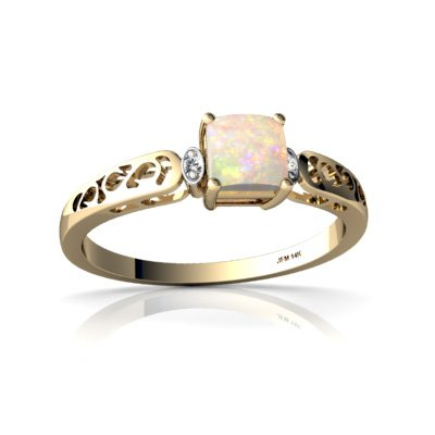 Genuine Opal 14ct Yellow Gold Filligree Ring
