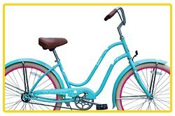 Steel Frame, Micargi Sakura 1-speed (Baby blue/pink) Women's 26