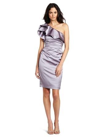 Maggy London Women's One Shoulder Satin Dress, Vintage Lavender, 10