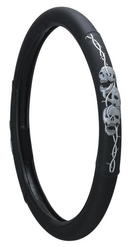 Barbed Wire Skulls Steering Wheel Cover