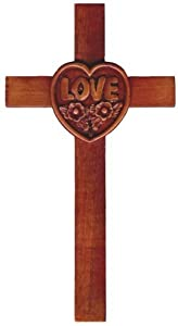 20cm wooden Mahogany large Love Heart wall hanging cross brown