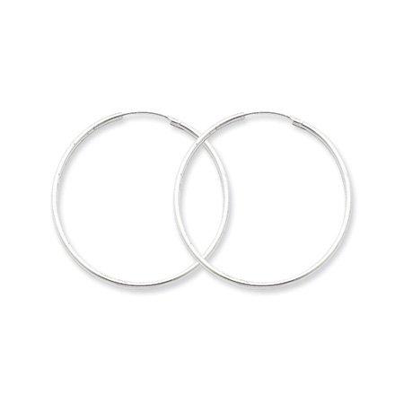 1.3mm, Silver, Endless Hoop Earrings - 50mm (1-7/8