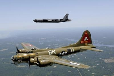 Stocktrek Images A B-17g Flying Fortress Participates in a Heritage Flight with a B-52h Stratofortress Peel and Stick Fabric Wall Sticker by Wallmonkeys Wall Decals