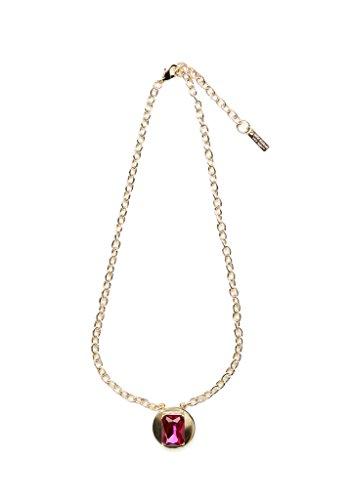 Fuchsia Gemstone Gold Disc Necklace