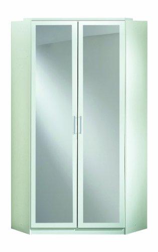 Wimex-147543-Eck-Kleiderschrank-95-x-198-x-95-cm-2-trig-mit-Spiegeln-Front-und-Korpus-alpinwei