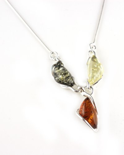 Multi Amber & Sterling Silver Three Stone Necklace