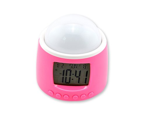 Kids Bedroom Amazing Romantic Colorful Led Light Starry Sky Star Projector Projection Night Lamp Music Digital Clock - Pink W/ Calendar, Temperature Display, Alarm, Snooze, Countdown Function front-513735
