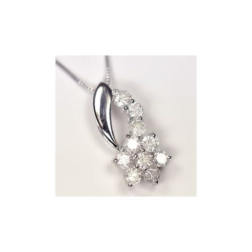 [キュートジュエリー]Cute jewerly ダイヤモンド ペンダント ネックレス 天然ダイヤ0.5ct×ホワイトゴールド スウィートフラワーペンダント 【ギフトラッピング済み】