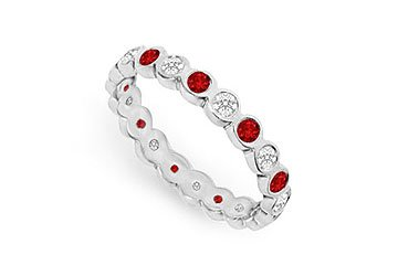 Diamond and Ruby Eternity Band 14K White Gold 1.00 CT TGW