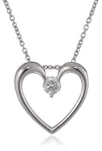 """Sterling Silver Solitaire Diamond Heart Pendant Necklace (1/7 cttw, H-I Color, I1-I2 Clarity), 18"""""""