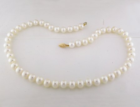 14K Yellow Gold Fresh Water White Pearl Necklace With Fisheye Clasp (9-10 mm)