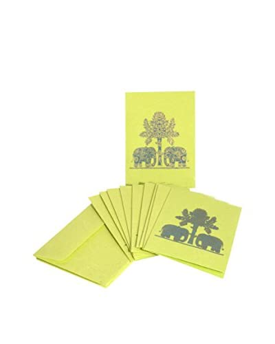 Uptown Down Set of 10 Elephant Greeting Cards, Green/Gold