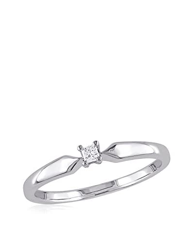 Lili & Blake Sterling Silver Princess-cut Diamond Solitaire Ring