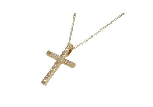 9ct Yellow Gold Small 0.13ct Diamond Cross Pendant/Chain 46cm