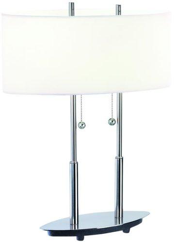 Chrome Finish Lite Source LS-105C Desk Lamp with Chrome Metal Shades 15 x 16 x 35