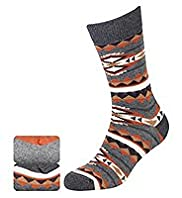 2 Pairs of North Coast Cotton Rich Aztec Print Socks