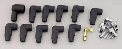 Taylor Cable 46051 Black Low Profile Distributor and Coil Boot/Terminal Kit - Set of 11