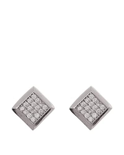 Silver One Pendientes Diamantado Square Zirconium