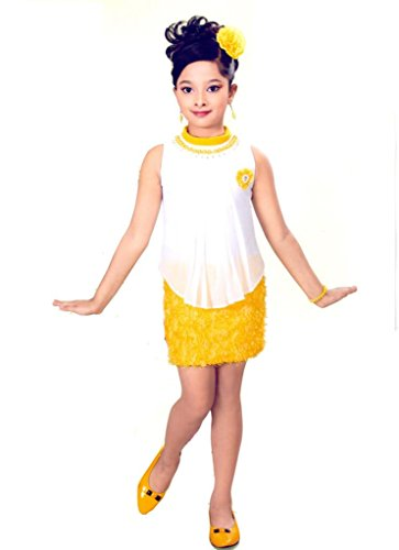 Hey Baby Yellow & White Sleevless Partywear Frock