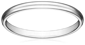 Women's 14k White Gold 2mm Traditional Plain Wedding Band, Size 4