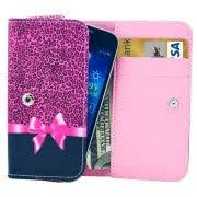 Universal Leopard Bowknot Pattern Leather Case with Card Slots Wallet for Samsung Galaxy NOTE II / N7100 / Galaxy NOTE 3 / N9000 / Galaxy NOTE 4 / N910, Size: 15.7 x 8.2 x 2.2cm