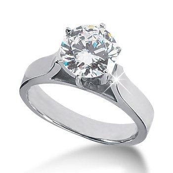 14K White Gold Round Cut Diamond Solitaire Engagement Ring (0.75ct.tw, HI Color, SI2-3 Clarity)