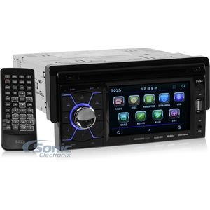 BOSS AUDIO BV7464B Single-DIN 4.6 inch Touchscreen DVD Player Receiver, Bluetooth, Detachable Front Panel, Wireless Remote