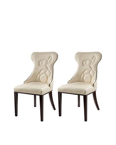 International Design Flower Set of 2 Dining Chairs, Cream