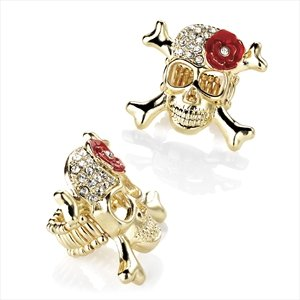 New Ladies Superb Fashion Design Gold Colour Diamante Elastic Skull Ring