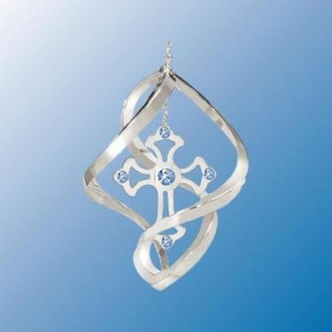 Chrome Plated Cross Mini Classic Spiral – Blue – Swarovski Crystal