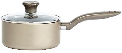 T-fal C06724 Metallics Oven Safe Nonstick Dishwasher Safe PFOA Free Saucepan with Glass Lid Cookware, 3-Quart, Bronze
