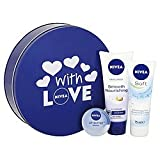 Nivea With Love Blue Tin (FULL SIZE PRODUCTS) Soft Moisturising Cream, Smooth Nourishing Hand Cream & Original Lip Butter