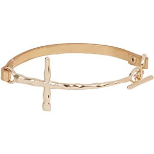 Heirloom Finds Hammered Sideways Cross Faux Leather Bracelet Pearlized Gold Tone