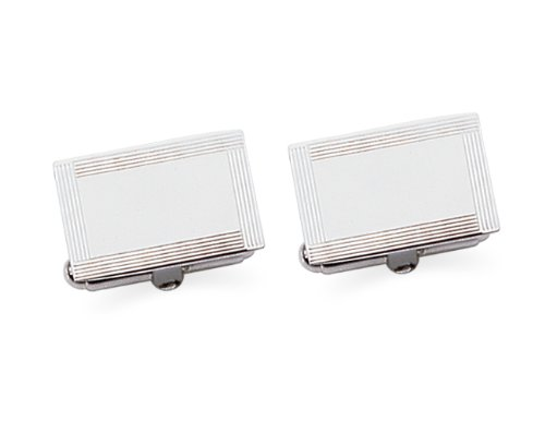 Sterling Silver Rectangle Frame Engravable Cuff Links