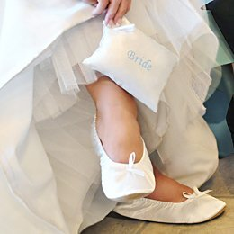 Bride Ballet Shoes with Embroidered Gift Pouch