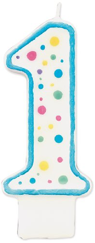 Wilton W91-01B Polka Dot Numeral Candle, 3-Inch by 1.5-Inch, No. 1 Blue, 1-Pack - 1