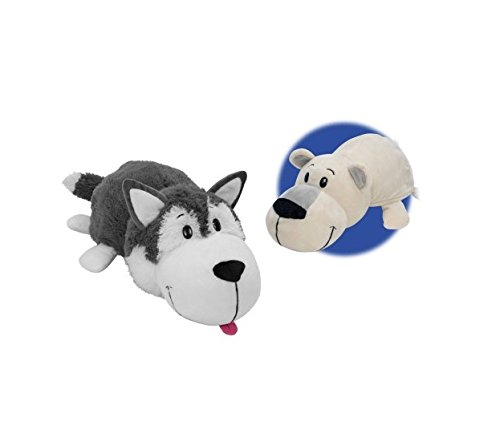 "16"" Husky Dog to Polar Bear FlipAZoo - 312CVC42gWL - 16″ Husky Dog to Polar Bear FlipAZoo"