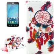 Cross Texture National Wind Bell Pattern Leather Case with Holder Card Slots Wallet for LG L90
