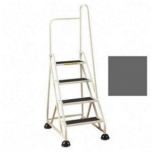 Stop-Step Ladder - 4 Steps with Right Handrail - Winter Gray