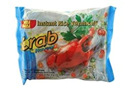 WAI WAI Instant Rice Vermicelli (Crab Flavour) - 1.94oz - 55g (Pack of 30)
