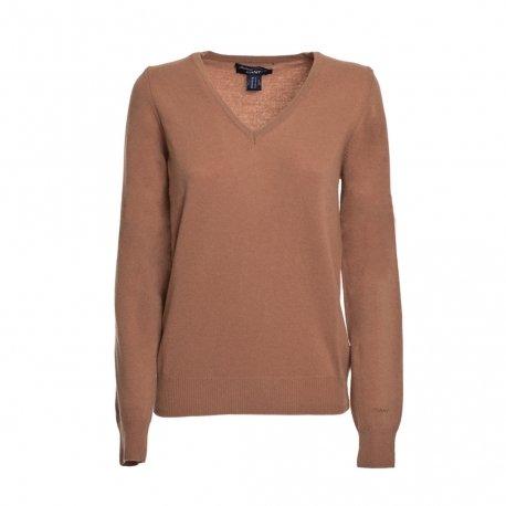 Gant maglia donna in misto cashmere (l, marrone)