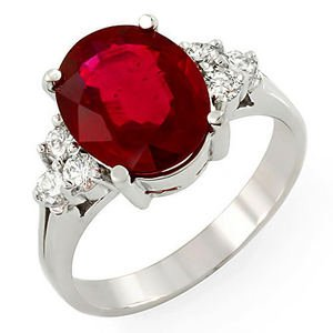 Natural 4.0 Ct Ruby and Diamonds Ring in 14k Solid Gold