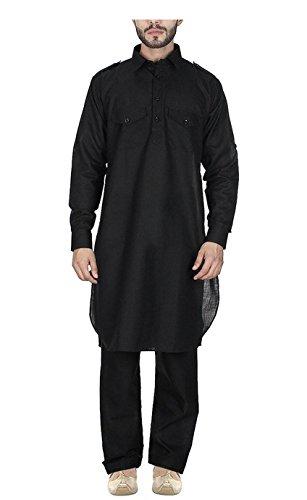 Black-Cotton-Blended-Pathani-Kurta-And-Pyjama-For-Men-By-Royal-Kurta
