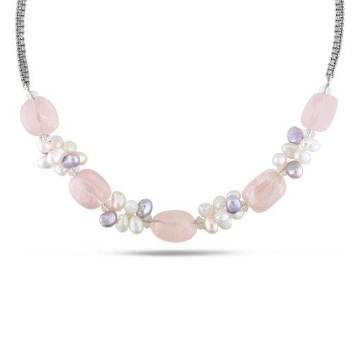 Freshwater Multi-colored Pearl and 150 CT TGW Multi-colored Quartz Necklace (16 in)