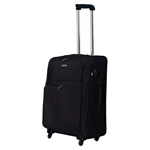 TSAロック搭載 ソフトキャリーケース スーツケース ヒノモトキャスター装備 Accord2トローリー・M (ブラック)