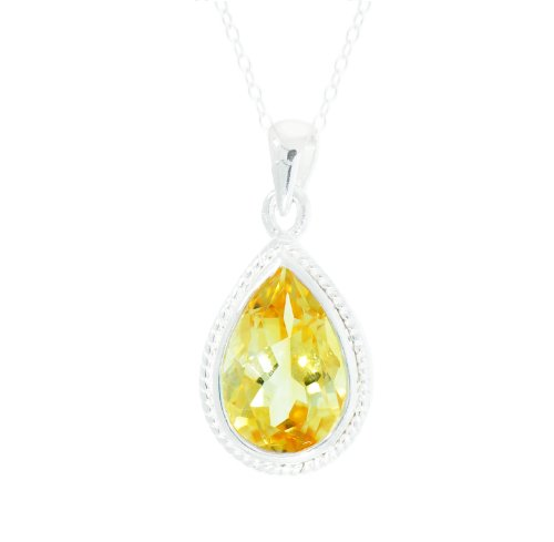 Sterling Silver Pear 12x8mm Citrine Pendant Necklace, 18
