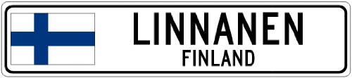 linnanen-finland-finland-flag-city-sign-4x18-quality-aluminum-sign