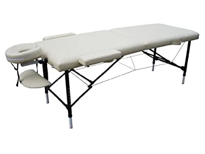 Cream Light Weight Portable Massage Table w/Free Carry Case
